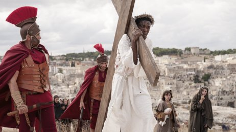 The Cameroonian-Italian farm worker activist Yvan Sagnet as Jesus Christ during the shooting of Milo Rau's