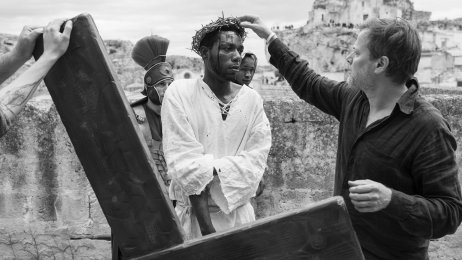 The Cameroonian-Italian farm worker activist and Jesus actor and film Director Milo Rau during the shooting of